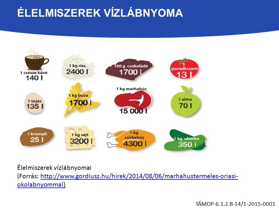 ÉLELMISZEREK VÍZLÁBNYOMA Élelmiszerek vízlábnyomai (Forrás: http://www.gordiusz.hu/hirek/2014/08/06/marhahustermeles-oriasi- okolabnyommal)http://www.