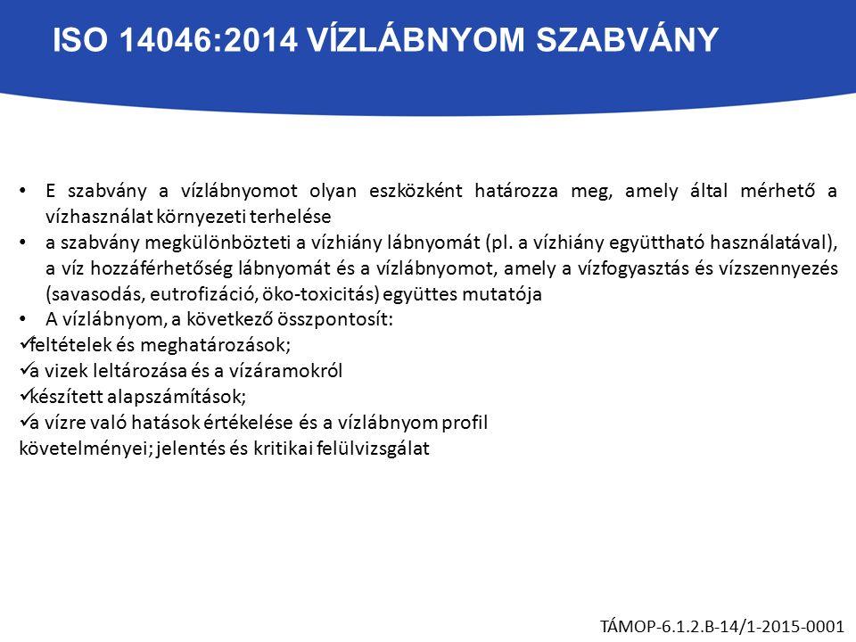 ISO 14046:2014 VÍZLÁBNYOM SZABVÁNY E szabvány a vízlábnyomot olyan eszközként határozza meg, amely által mérhető a vízhasználat környezeti terhelése a