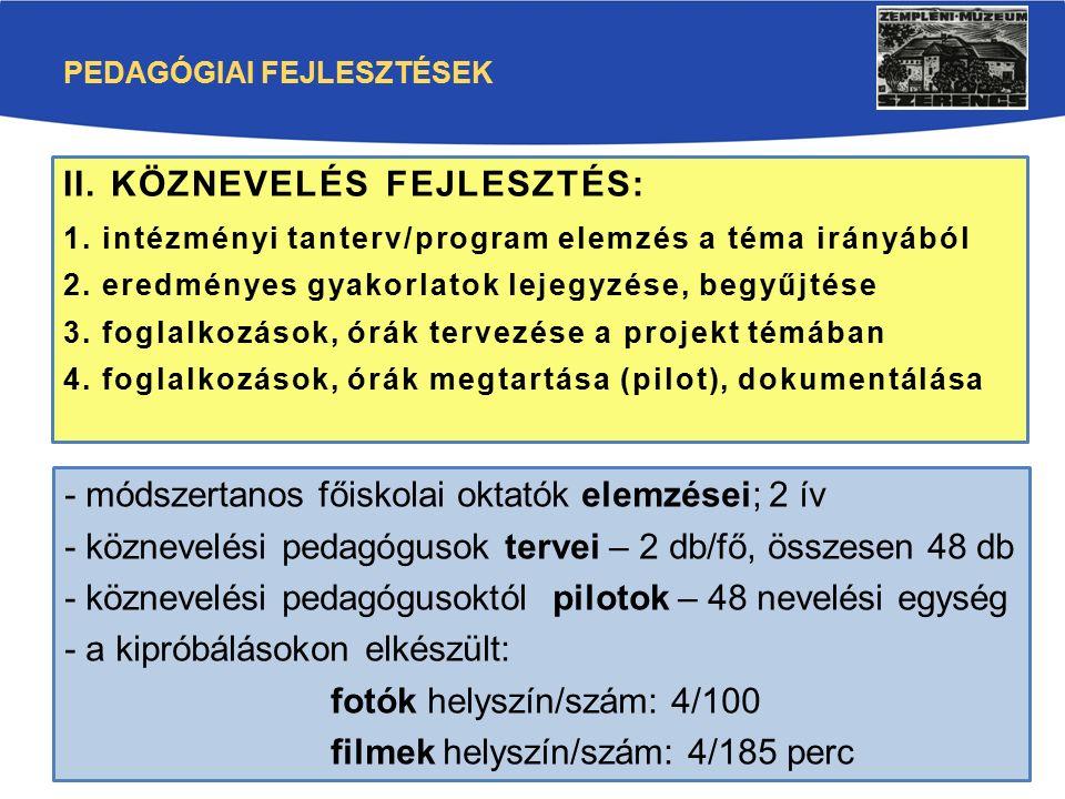 PEDAGÓGIAI FEJLESZTÉSEK II. KÖZNEVELÉS FEJLESZTÉS: 1. intézményi tanterv/program elemzés a téma irányából 2. eredményes gyakorlatok lejegyzése, begyűj