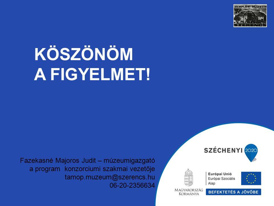 KÖSZÖNÖM A FIGYELMET! Fazekasné Majoros Judit – múzeumigazgató a program konzorciumi szakmai vezetője tamop.muzeum@szerencs.hu 06-20-2356634