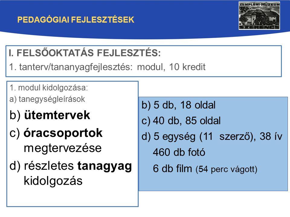 PEDAGÓGIAI FEJLESZTÉSEK 1. modul kidolgozása: a) tanegységleírások b) ütemtervek c) óracsoportok megtervezése d) részletes tanagyag kidolgozás I. FELS