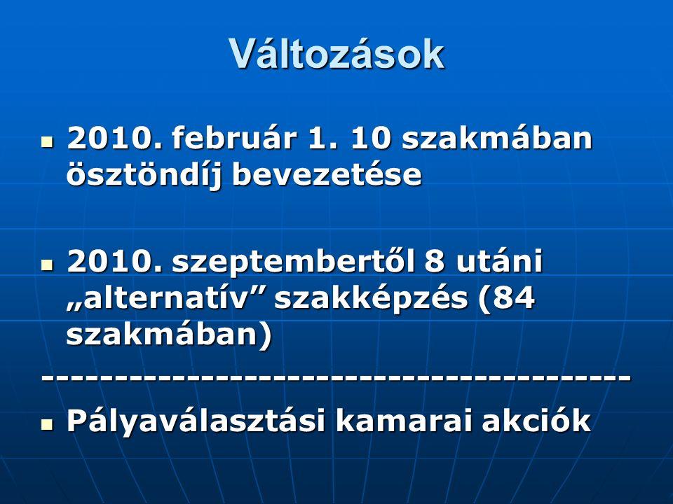 Változások 2010. február 1. 10 szakmában ösztöndíj bevezetése 2010.