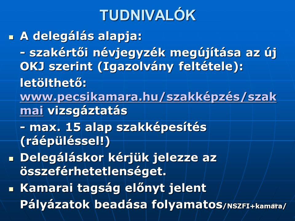 28 TUDNIVALÓK A delegálás alapja: A delegálás alapja: - szakértői névjegyzék megújítása az új OKJ szerint (Igazolvány feltétele): letölthető: www.pecsikamara.hu/szakképzés/szak mai vizsgáztatás www.pecsikamara.hu/szakképzés/szak mai www.pecsikamara.hu/szakképzés/szak mai - max.
