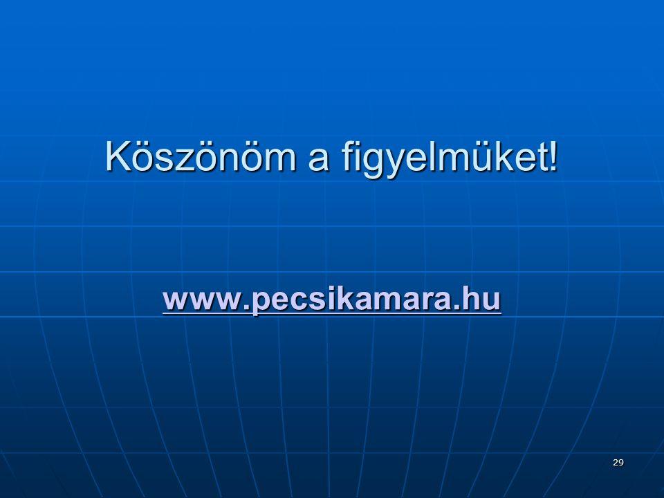 29 Köszönöm a figyelmüket! www.pecsikamara.hu www.pecsikamara.hu