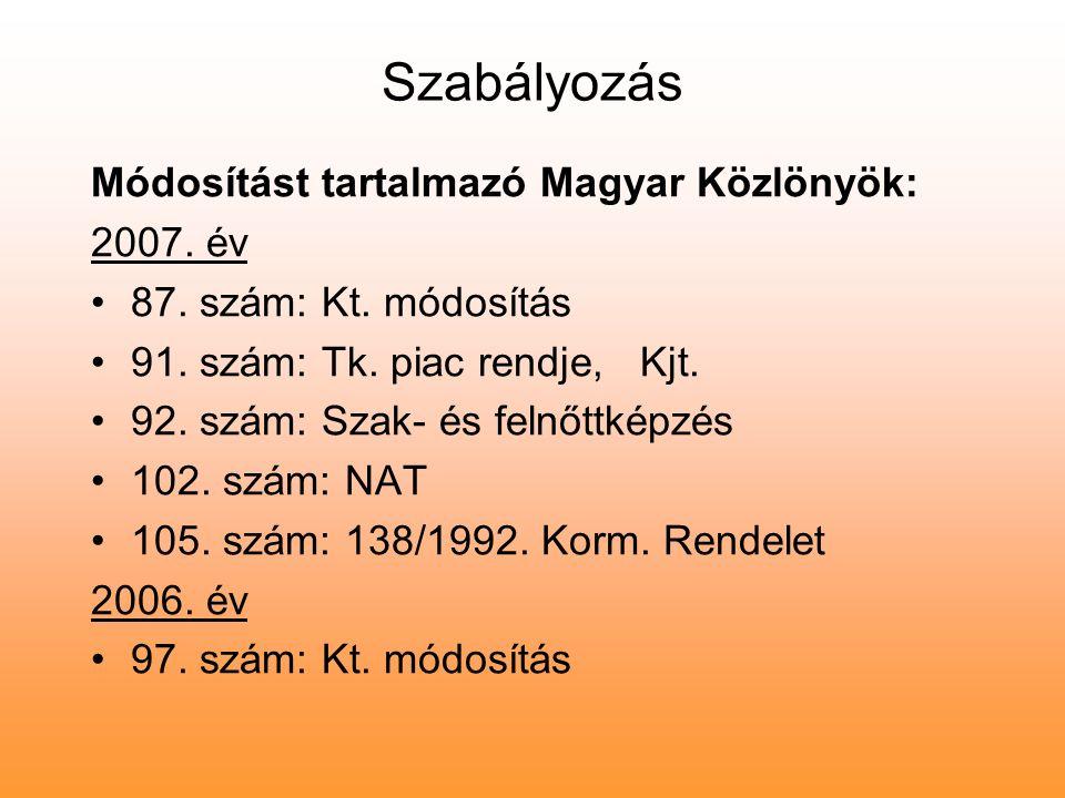 Szabályozás Módosítást tartalmazó Magyar Közlönyök: 2007. év 87. szám: Kt. módosítás 91. szám: Tk. piac rendje, Kjt. 92. szám: Szak- és felnőttképzés