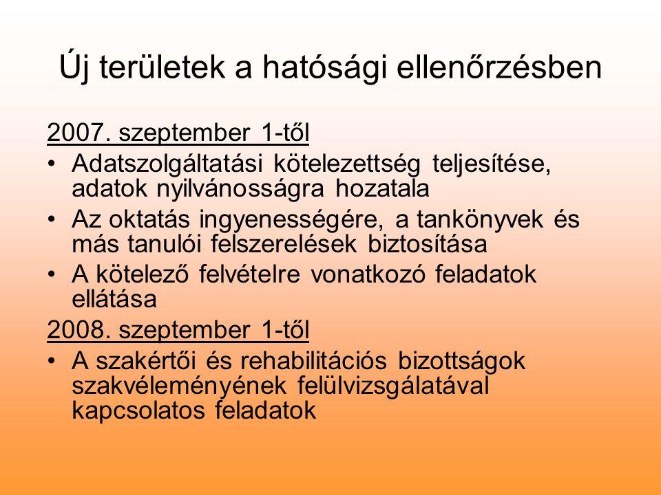 Új területek a hatósági ellenőrzésben 2007. szeptember 1-től Adatszolgáltatási kötelezettség teljesítése, adatok nyilvánosságra hozatala Az oktatás in