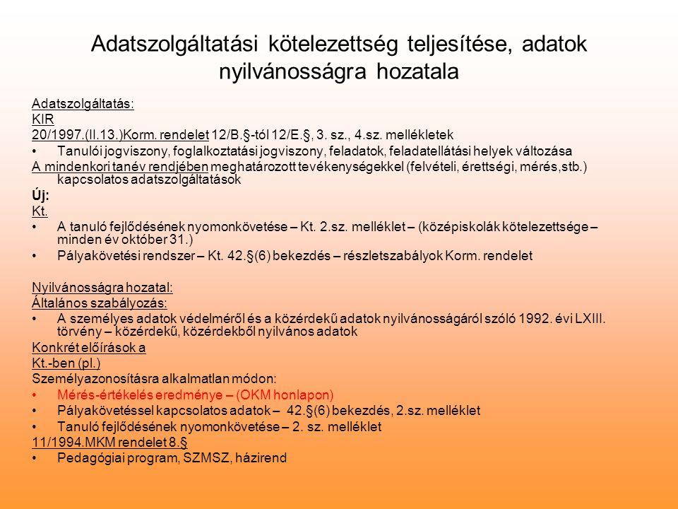 Adatszolgáltatási kötelezettség teljesítése, adatok nyilvánosságra hozatala Adatszolgáltatás: KIR 20/1997.(II.13.)Korm.