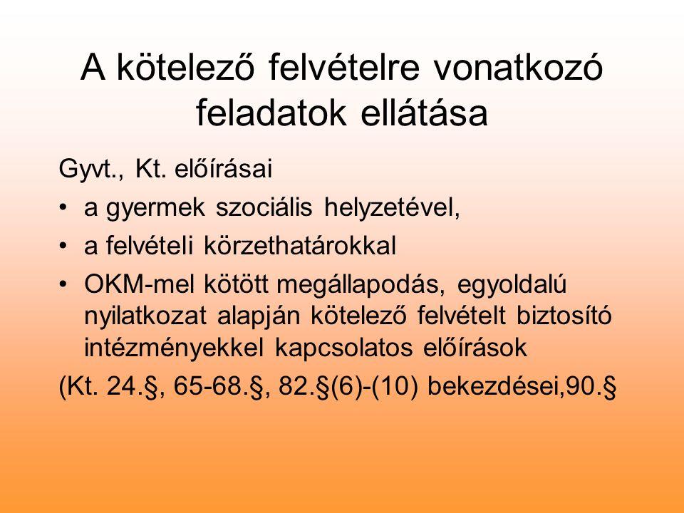 A kötelező felvételre vonatkozó feladatok ellátása Gyvt., Kt.