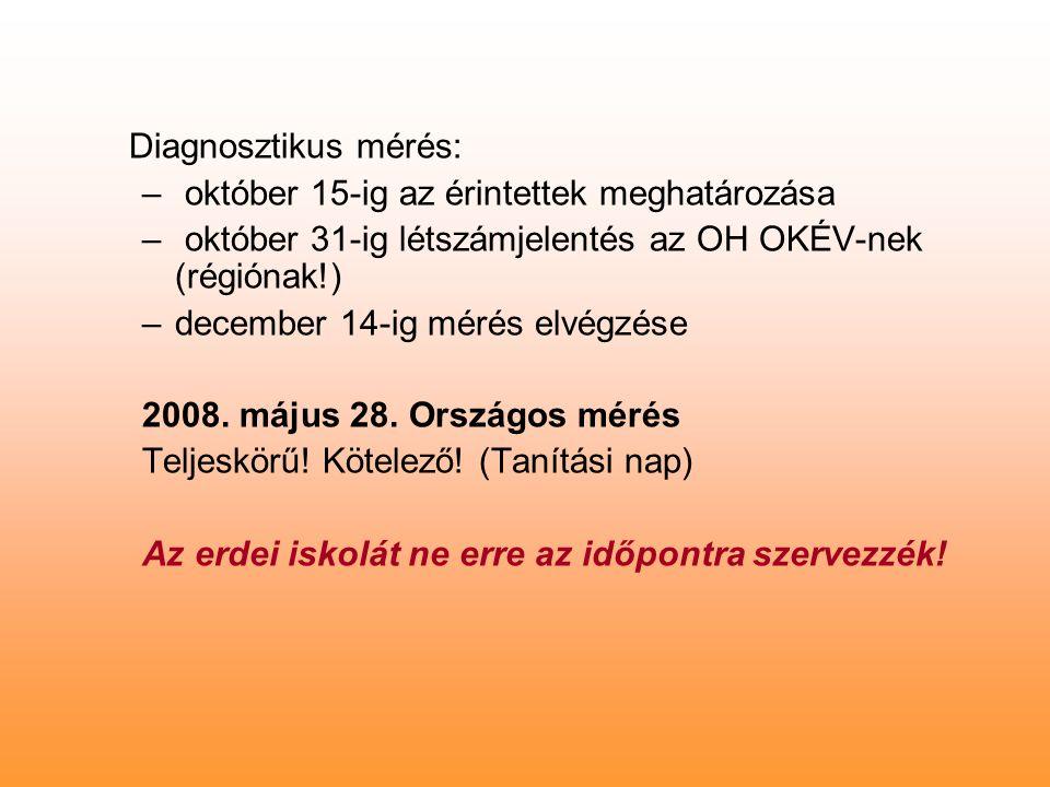Diagnosztikus mérés: – október 15-ig az érintettek meghatározása – október 31-ig létszámjelentés az OH OKÉV-nek (régiónak!) –december 14-ig mérés elvégzése 2008.
