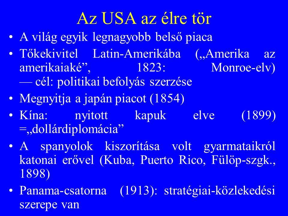 """Az USA az élre tör A világ egyik legnagyobb belső piaca Tőkekivitel Latin-Amerikába (""""Amerika az amerikaiaké"""", 1823: Monroe-elv) — cél: politikai befo"""