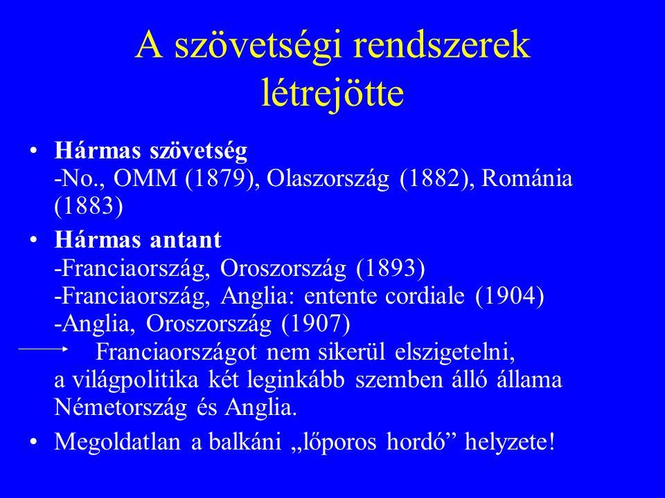 A szövetségi rendszerek létrejötte Hármas szövetség -No., OMM (1879), Olaszország (1882), Románia (1883) Hármas antant -Franciaország, Oroszország (18