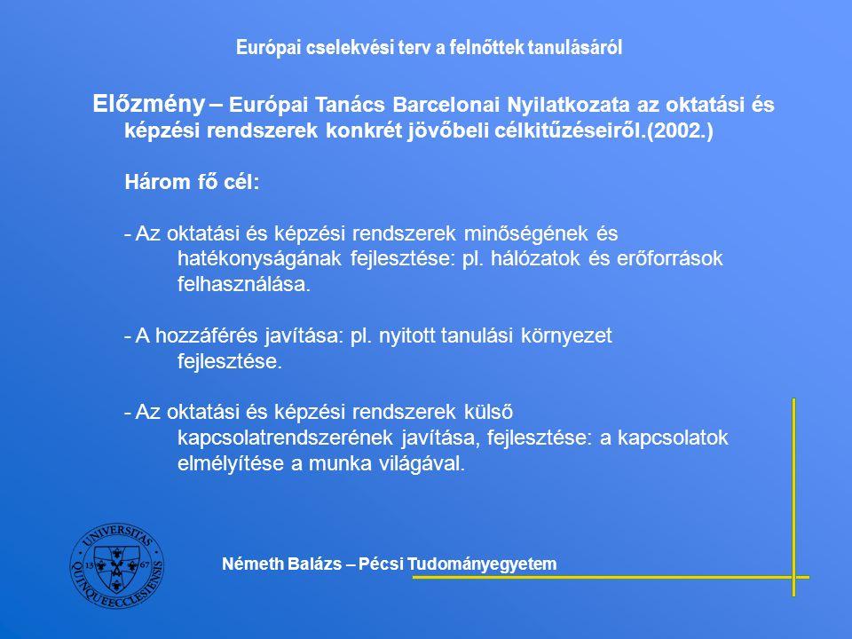 Európai cselekvési terv a felnőttek tanulásáról Kulcsüzenetek a felnőttek tanulásának támogatására 2) A felnőttkori tanulás minőségének biztosítása - A minőség biztosítása magába foglalja a tanácsadási formák, a pályaorientáció megújítása mellett a szükségletelemzést, az értékelési módszerek fejlesztését, továbbá a kompetenciák elismerését, értékelését egyaránt.