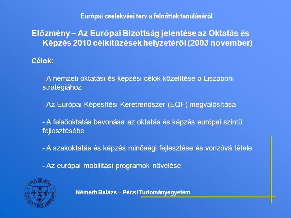 Európai cselekvési terv a felnőttek tanulásáról A felnőttkori tanulás fejlesztése, mint az egész életen át tartó tanulás stratégiai prioritásainak egyike - A tagállamok törekvései nemzeti stratégiákban jelennek meg 2004-2005 között (pl.