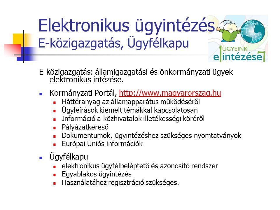 Elektronikus ügyintézés E-közigazgatás, Ügyfélkapu E-közigazgatás: államigazgatási és önkormányzati ügyek elektronikus intézése. Kormányzati Portál, h
