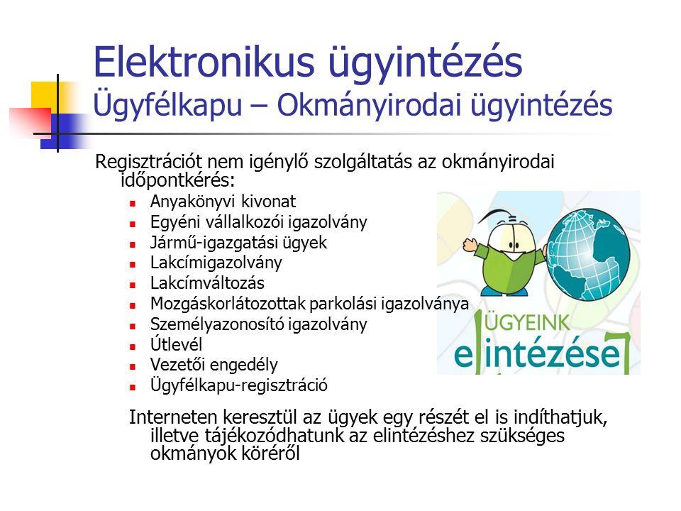 Elektronikus ügyintézés Ügyfélkapu – Okmányirodai ügyintézés Regisztrációt nem igénylő szolgáltatás az okmányirodai időpontkérés: Anyakönyvi kivonat E