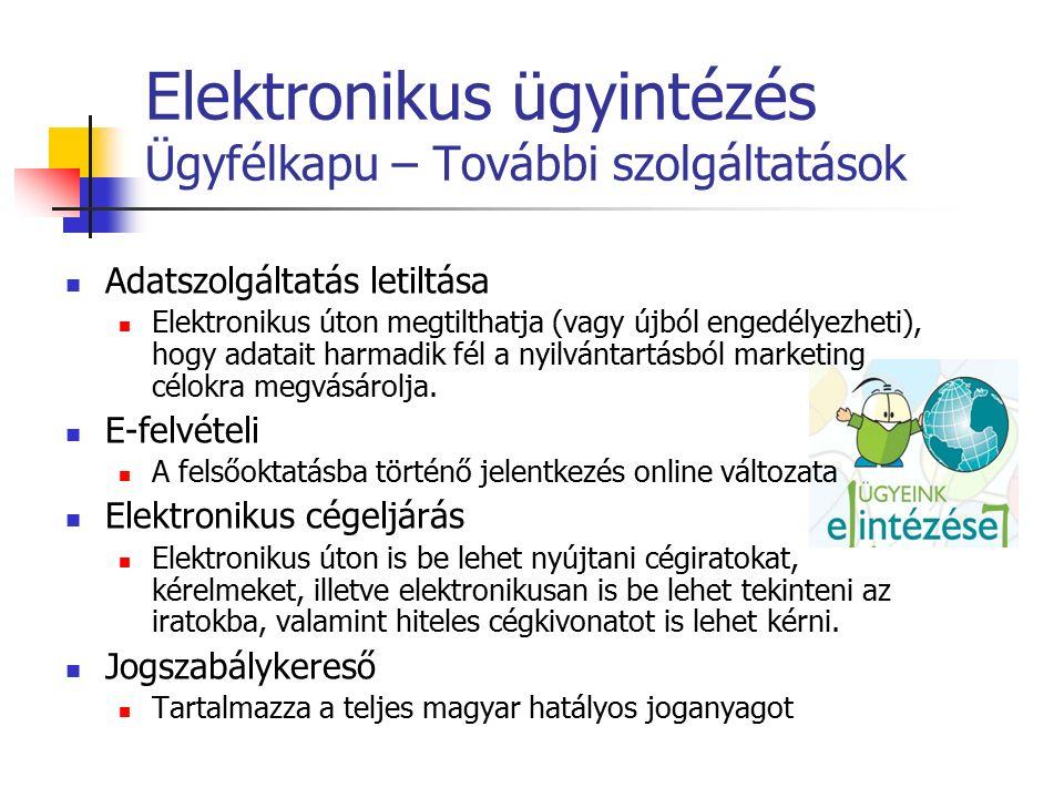 Elektronikus ügyintézés Ügyfélkapu – További szolgáltatások Adatszolgáltatás letiltása Elektronikus úton megtilthatja (vagy újból engedélyezheti), hogy adatait harmadik fél a nyilvántartásból marketing célokra megvásárolja.