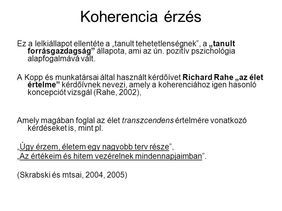 A koherencia egyenletes eloszlása Magyarországon A koherencia mértéke nem tér el jelentősen az egyes magyarországi régiók között, magas koherencia érték jellemzi a magyar társadalom egyharmadát, a nők 32 %-át, a férfiak 28 %-át.