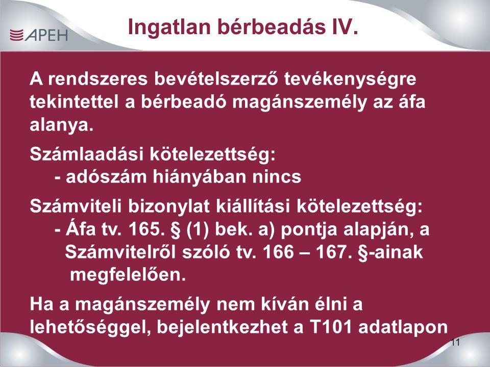 11 Ingatlan bérbeadás IV.