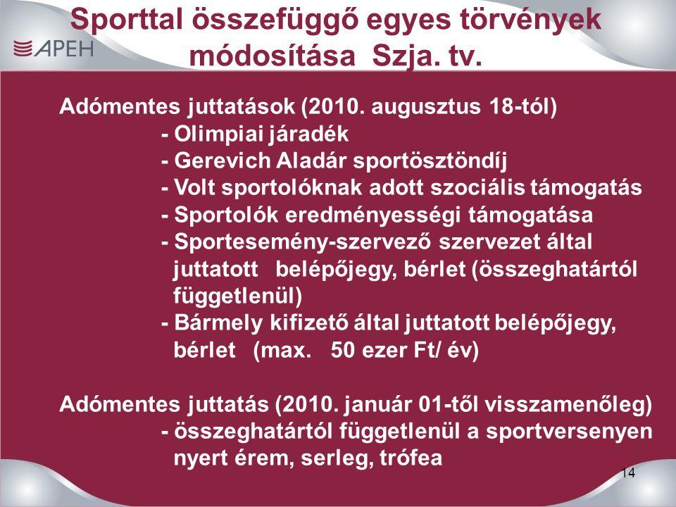 14 Sporttal összefüggő egyes törvények módosítása Szja.