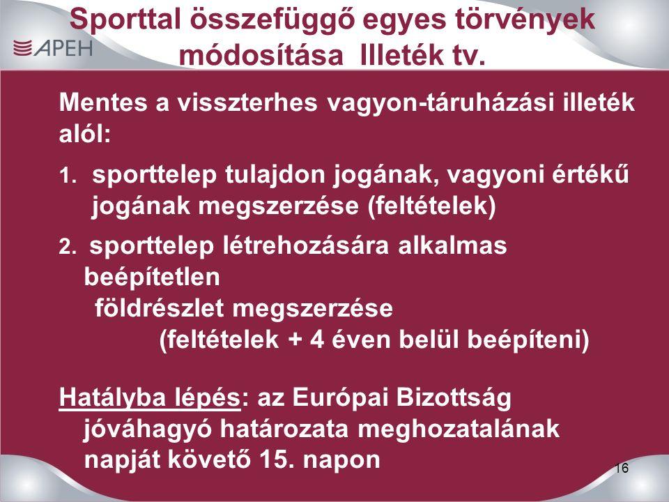 16 Sporttal összefüggő egyes törvények módosítása Illeték tv.