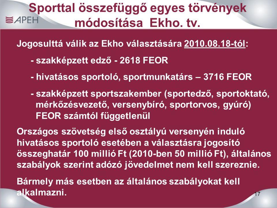 17 Sporttal összefüggő egyes törvények módosítása Ekho.