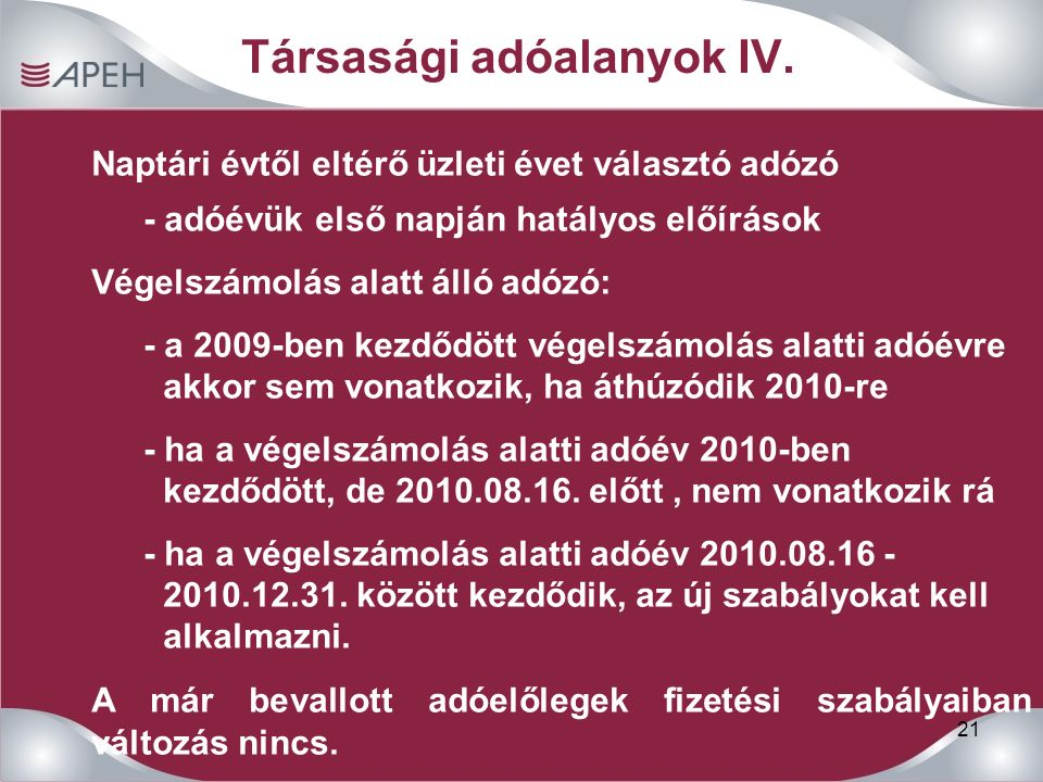 21 Társasági adóalanyok IV.