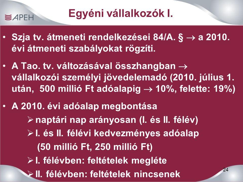 24 Egyéni vállalkozók I. Szja tv. átmeneti rendelkezései 84/A.