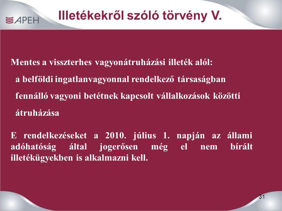 31 Mentes a visszterhes vagyonátruházási illeték alól: a belföldi ingatlanvagyonnal rendelkező társaságban fennálló vagyoni betétnek kapcsolt vállalkozások közötti átruházása E rendelkezéseket a 2010.