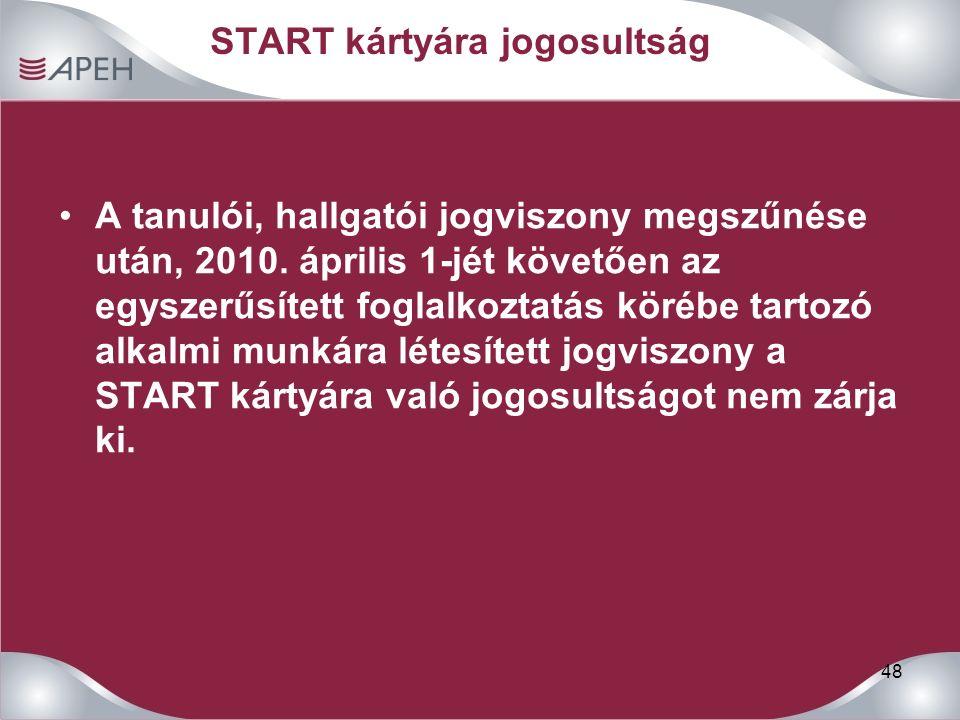 48 START kártyára jogosultság A tanulói, hallgatói jogviszony megszűnése után, 2010.