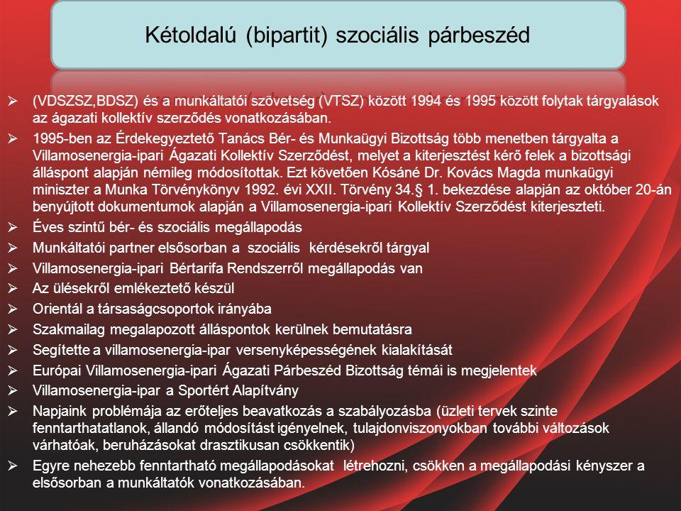  (VDSZSZ,BDSZ) és a munkáltatói szövetség (VTSZ) között 1994 és 1995 között folytak tárgyalások az ágazati kollektív szerződés vonatkozásában.