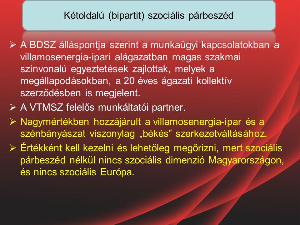  A BDSZ álláspontja szerint a munkaügyi kapcsolatokban a villamosenergia-ipari alágazatban magas szakmai színvonalú egyeztetések zajlottak, melyek a megállapodásokban, a 20 éves ágazati kollektív szerződésben is megjelent.