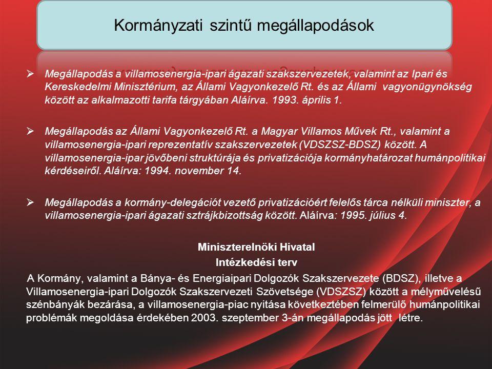  Megállapodás a villamosenergia-ipari ágazati szakszervezetek, valamint az Ipari és Kereskedelmi Minisztérium, az Állami Vagyonkezelő Rt.