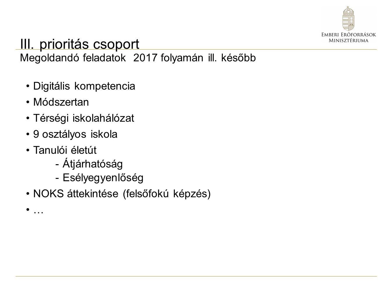 III. prioritás csoport Megoldandó feladatok 2017 folyamán ill. később Digitális kompetencia Módszertan Térségi iskolahálózat 9 osztályos iskola Tanuló