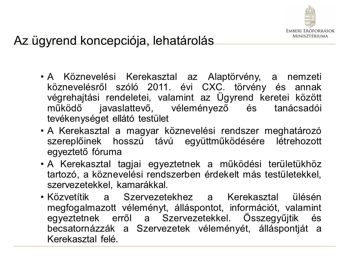 Az ügyrend koncepciója, lehatárolás A Köznevelési Kerekasztal az Alaptörvény, a nemzeti köznevelésről szóló 2011. évi CXC. törvény és annak végrehajtá
