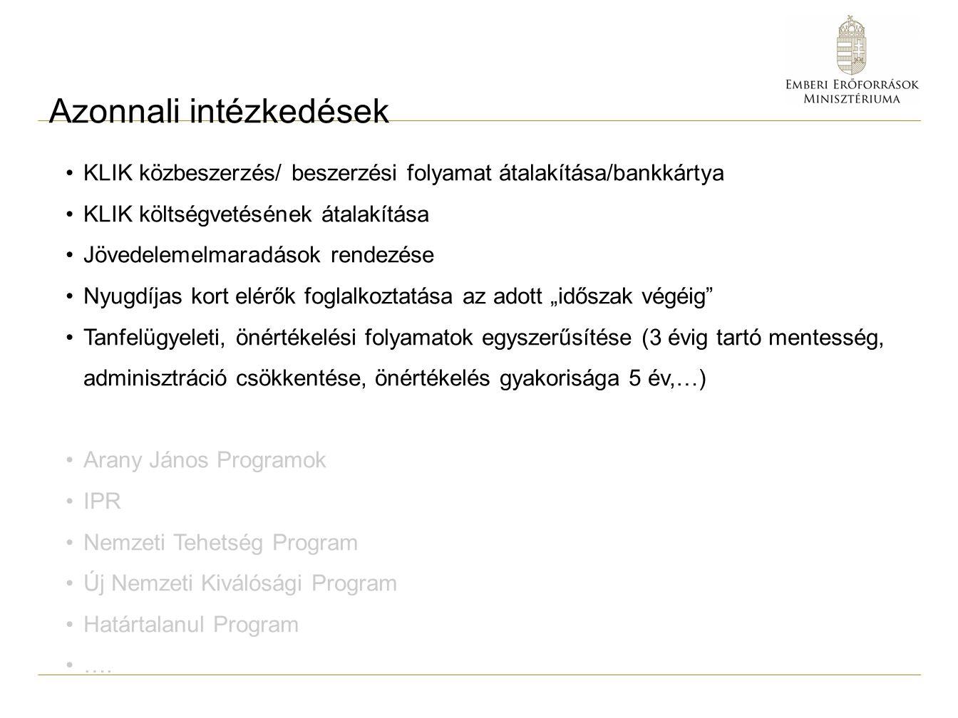 Azonnali intézkedések KLIK közbeszerzés/ beszerzési folyamat átalakítása/bankkártya KLIK költségvetésének átalakítása Jövedelemelmaradások rendezése N