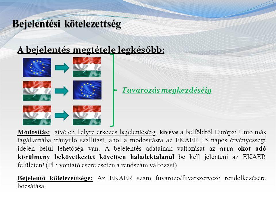 A bejelentés megtétele legkésőbb: Fuvarozás megkezdéséig Módosítás: átvételi helyre érkezés bejelentéséig, kivéve a belföldről Európai Unió más tagáll