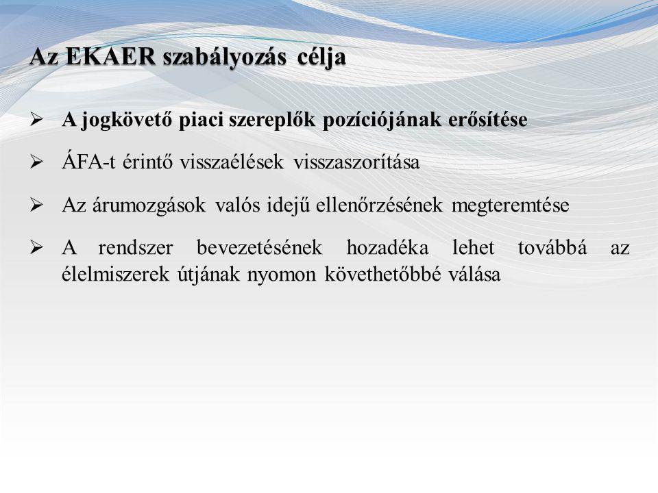 Art.:  Bejelentési kötelezettségről általában  Szankciók NGM rendeletek : 5/2015 (II.27.), 51/2014 (XII.31)  Bejelentésre kötelezettek köre  Bejelentéssel érintett termékkörök  Bejelentési kötelezettséggel érintett tevékenységi körök  Mentességi szabályok  Bejelentendő adatok  A kockázati biztosíték  A kockázatos termékek körének meghatározása  Az EKAER szám megállapításának rendje, a bejelentés, változás- bejelentés, kockázati biztosíték mértéke