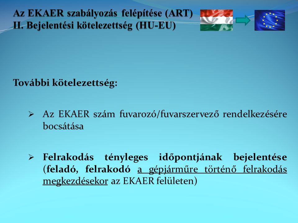 További kötelezettség:  Az EKAER szám fuvarozó/fuvarszervező rendelkezésére bocsátása  Felrakodás tényleges időpontjának bejelentése (feladó, felrakodó a gépjárműre történő felrakodás megkezdésekor az EKAER felületen)