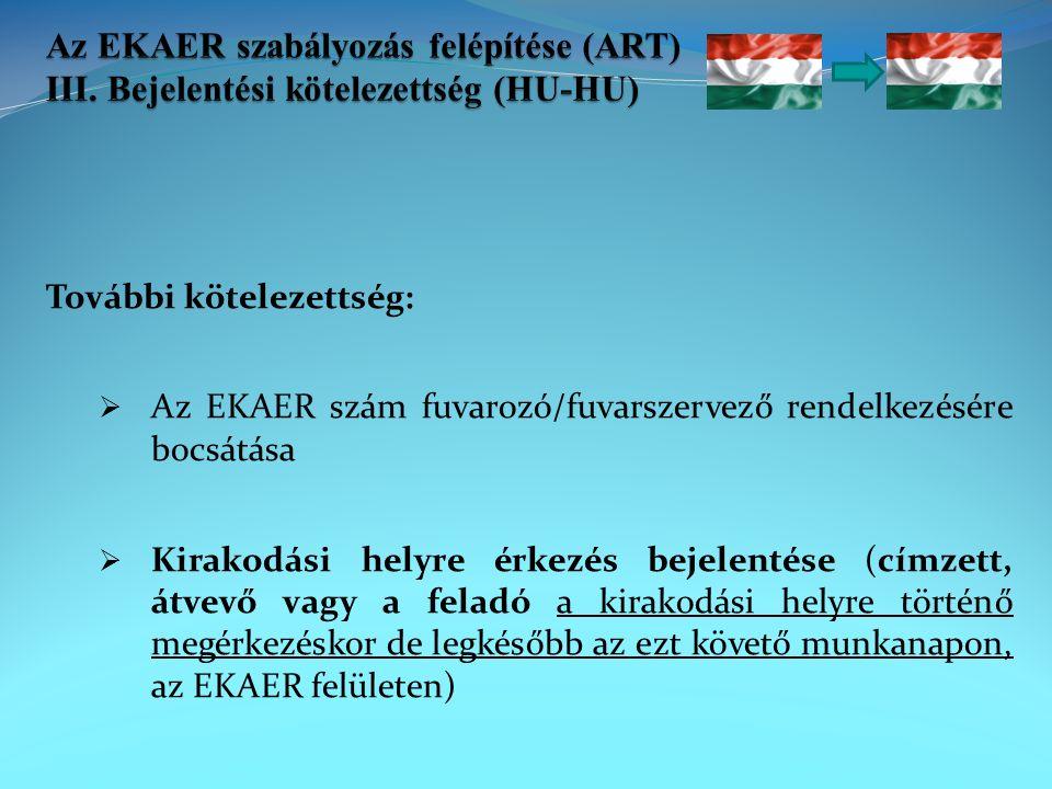 További kötelezettség:  Az EKAER szám fuvarozó/fuvarszervező rendelkezésére bocsátása  Kirakodási helyre érkezés bejelentése (címzett, átvevő vagy a feladó a kirakodási helyre történő megérkezéskor de legkésőbb az ezt követő munkanapon, az EKAER felületen)
