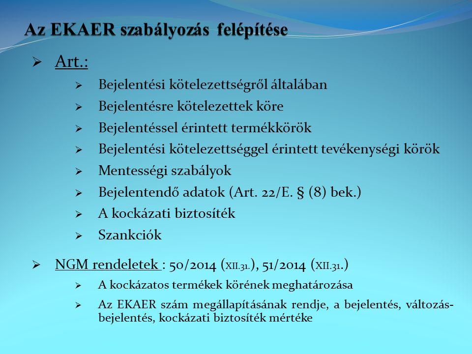  Főszabály: Az Art.22/E.