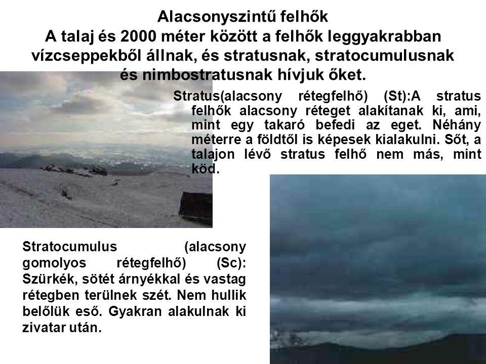 Alacsonyszintű felhők A talaj és 2000 méter között a felhők leggyakrabban vízcseppekből állnak, és stratusnak, stratocumulusnak és nimbostratusnak hív