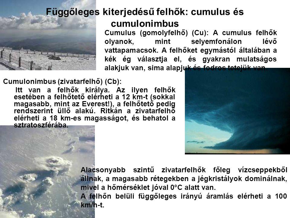 Függőleges kiterjedésű felhők: cumulus és cumulonimbus Cumulonimbus (zivatarfelhő) (Cb): Itt van a felhők királya. Az ilyen felhők esetében a felhőtet
