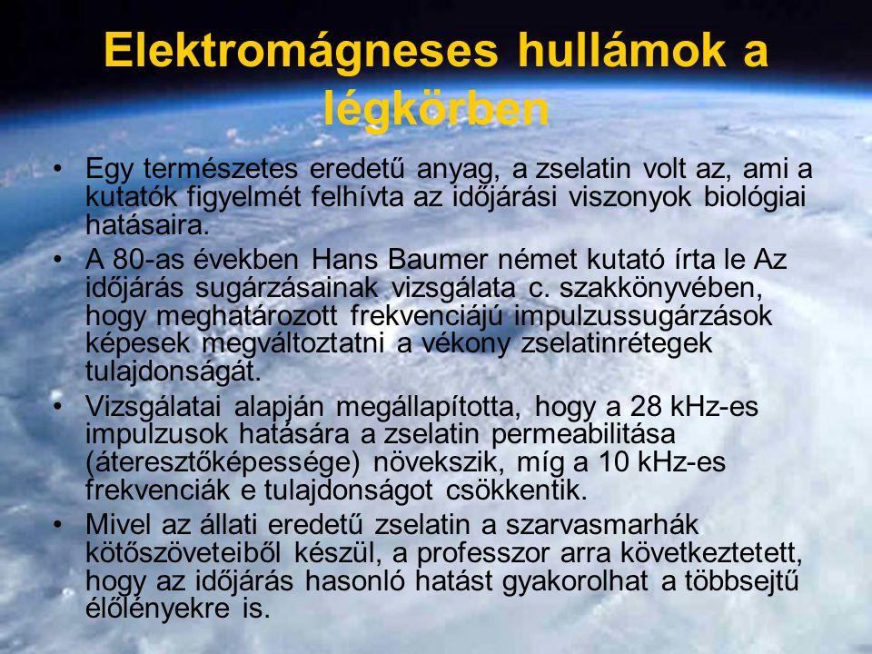 Elektromágneses hullámok a légkörben Egy természetes eredetű anyag, a zselatin volt az, ami a kutatók figyelmét felhívta az időjárási viszonyok biológiai hatásaira.