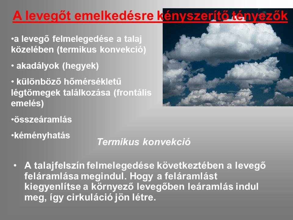 a levegő felmelegedése a talaj közelében (termikus konvekció) akadályok (hegyek) különböző hőmérsékletű légtömegek találkozása (frontális emelés) összeáramlás kéményhatás A levegőt emelkedésre kényszerítő tényezők Termikus konvekció A talajfelszín felmelegedése következtében a levegő feláramlása megindul.