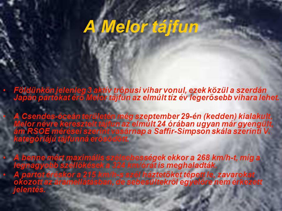 A Melor tájfun Földünkön jelenleg 3 aktív trópusi vihar vonul, ezek közül a szerdán Japán partokat érő Melor tájfun az elmúlt tíz év legerősebb vihara lehet.