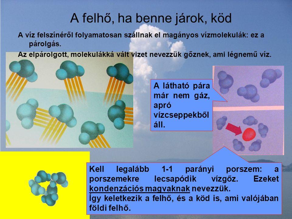 A víz felszínéről folyamatosan szállnak el magányos vízmolekulák: ez a párolgás.