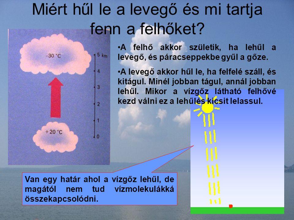 Miért hűl le a levegő és mi tartja fenn a felhőket? A felhő akkor születik, ha lehűl a levegő, és páracseppekbe gyűl a gőze. A levegő akkor hűl le, ha