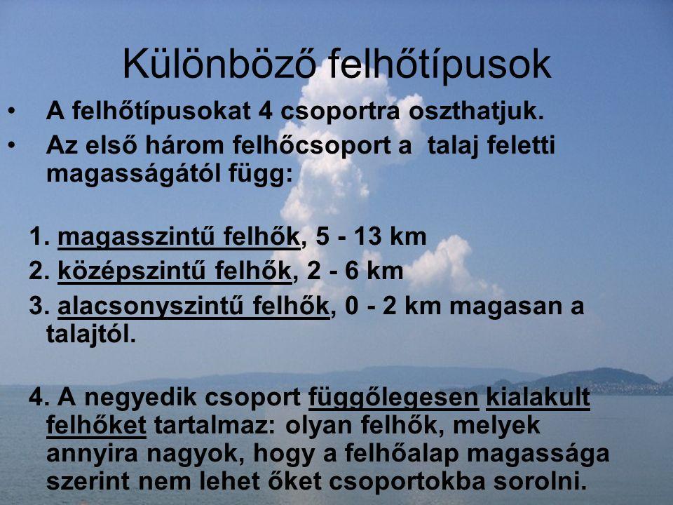 Különböző felhőtípusok A felhőtípusokat 4 csoportra oszthatjuk. Az első három felhőcsoport a talaj feletti magasságától függ: 1. magasszintű felhők, 5