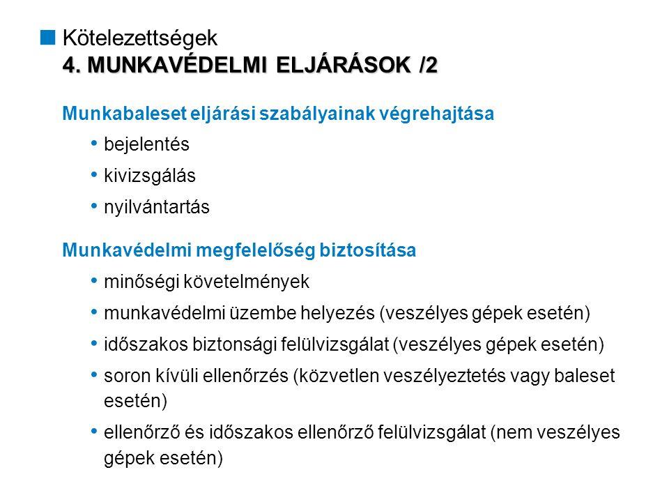 4. MUNKAVÉDELMI ELJÁRÁSOK /2  Kötelezettségek 4.