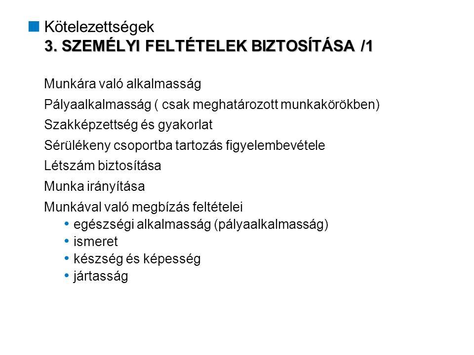3. SZEMÉLYI FELTÉTELEK BIZTOSÍTÁSA /1  Kötelezettségek 3.